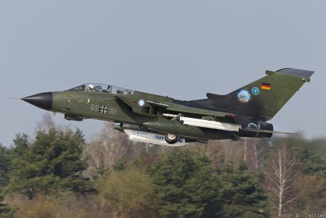 Tornado with mounted avionic demonstrator take-off